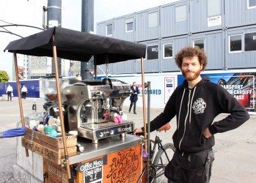 The Handlebar Barista stays mobile to avoid detection. Classic guerilla tactics.